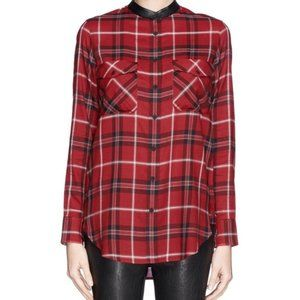 Vince   Red Plaid Leather Trim Button Down Shirt 4